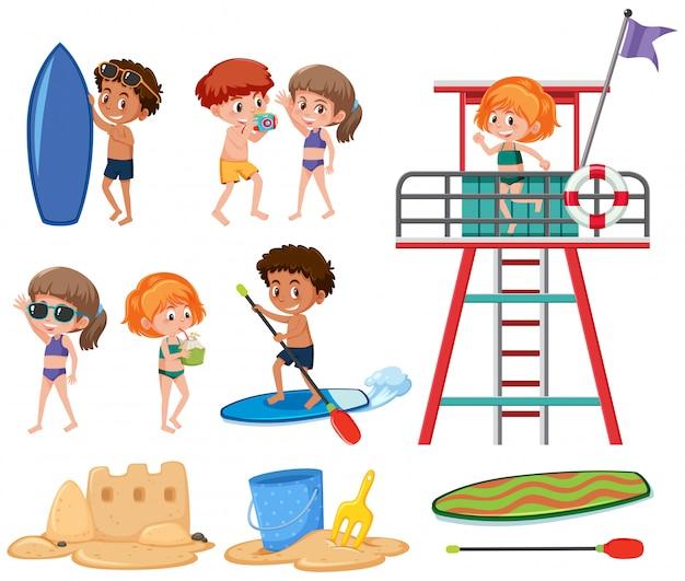 Ensemble de vacances d'été pour enfants Vecteur Premium