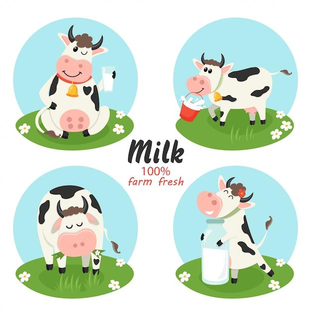 Ensemble de vaches de ferme avec une bouteille de lait Vecteur Premium