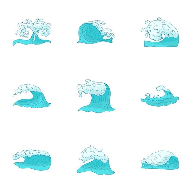 Ensemble de vagues, style cartoon Vecteur Premium