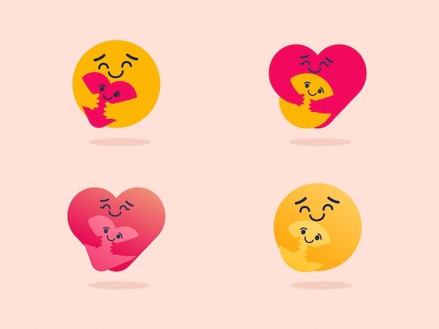 Ensemble De Variation Emoji De Soins Vecteur Premium