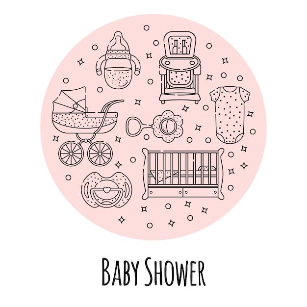 Ensemble de vecteur d'accessoires bébé pour le nouveau-né Vecteur Premium