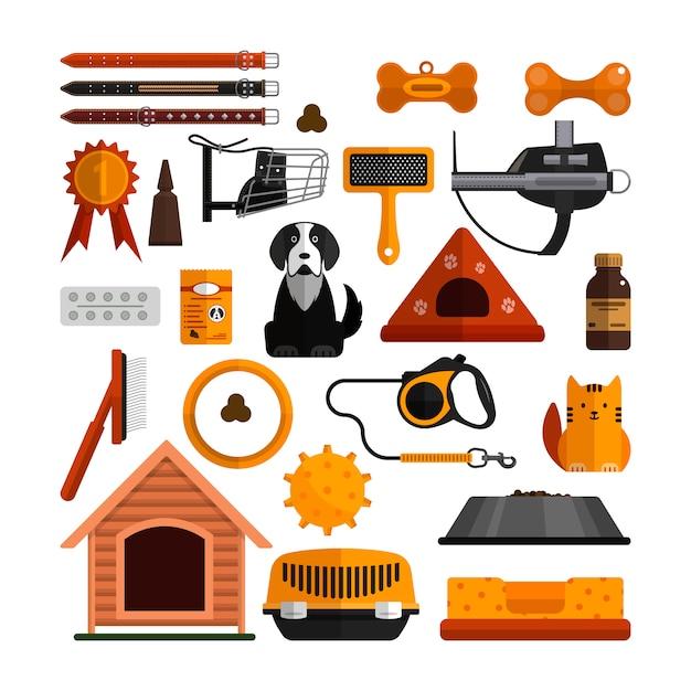 Ensemble de vecteur d'accessoires pour animaux de compagnie isolé. chiens et chats conçoivent des éléments dans un style plat. Vecteur Premium