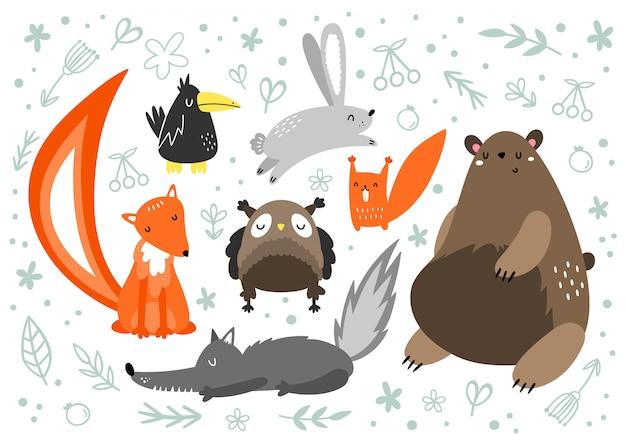 Ensemble de vecteur d'animaux dans les styles scandinaves. animal de la forêt. ours brun, lièvre, renard, loup, hibou corbeau écureuil Vecteur Premium