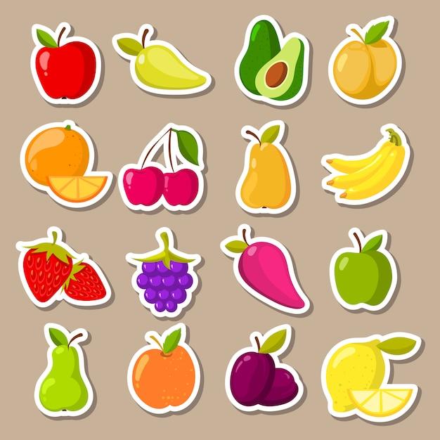 Ensemble de vecteur d'autocollants de fruits et de baies Vecteur Premium