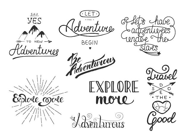 Ensemble de vecteur d'aventure et de voyage Vecteur Premium