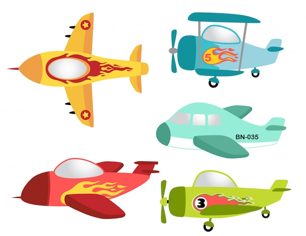 Ensemble de vecteur d'avion coloré Vecteur Premium