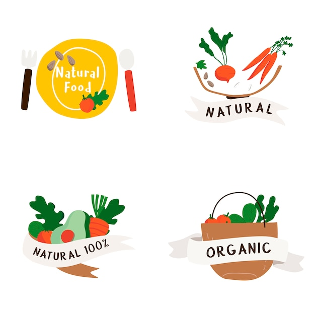 Ensemble de vecteur de badges d'aliments naturels et biologiques Vecteur gratuit