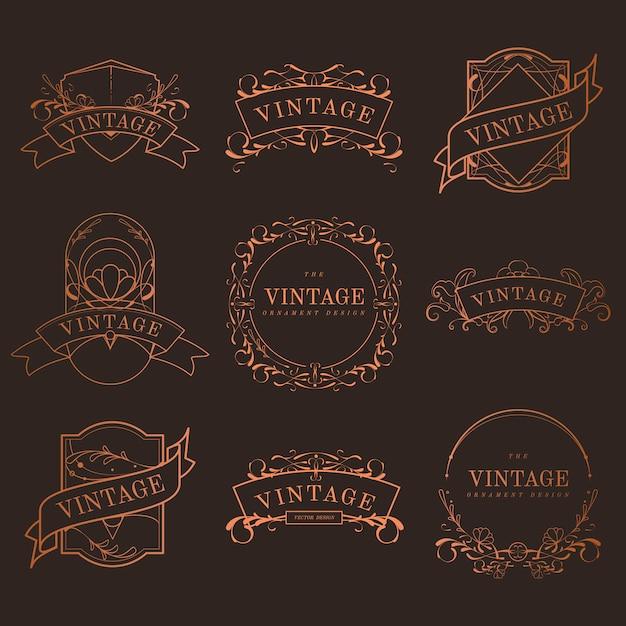 Ensemble de vecteur de badges art nouveau bronze vintage Vecteur gratuit
