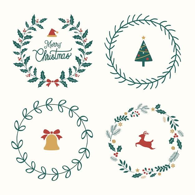 Ensemble de vecteur de badges de noël Vecteur gratuit