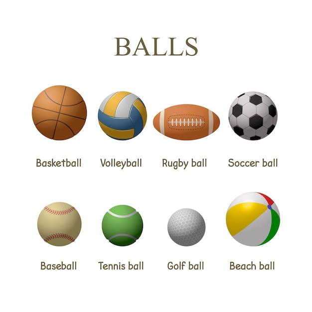 Ensemble de vecteur de balles de sport isolés. basket-ball, football, tennis, balles de baseball. Vecteur Premium
