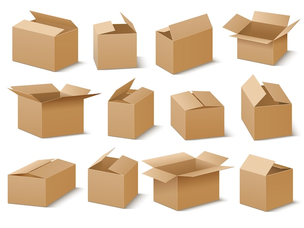 Ensemble de vecteur de boîtes en carton ouvert et fermé Vecteur Premium