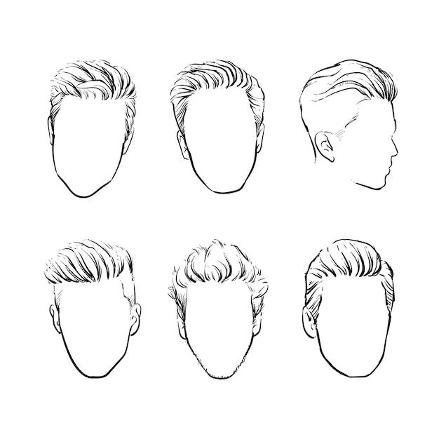 Ensemble de vecteur de cheveux d'homme fashion hipster Vecteur Premium