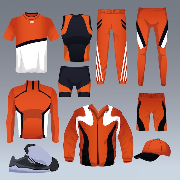 Ensemble De Vecteur De Collection De Vêtements De Sport Vecteur Premium
