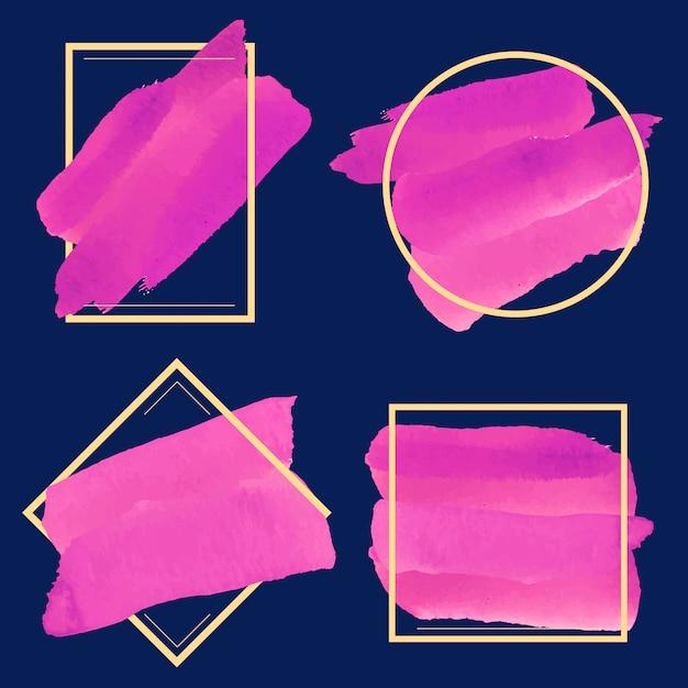 Ensemble de vecteur de conception de bannière aquarelle magenta Vecteur gratuit