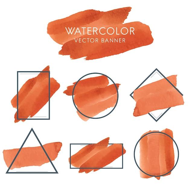Ensemble de vecteur de conception de bannière aquarelle orange Vecteur gratuit