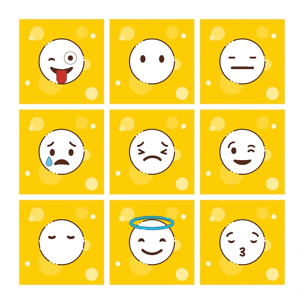 Ensemble de vecteur de conception emojis jaune Vecteur gratuit