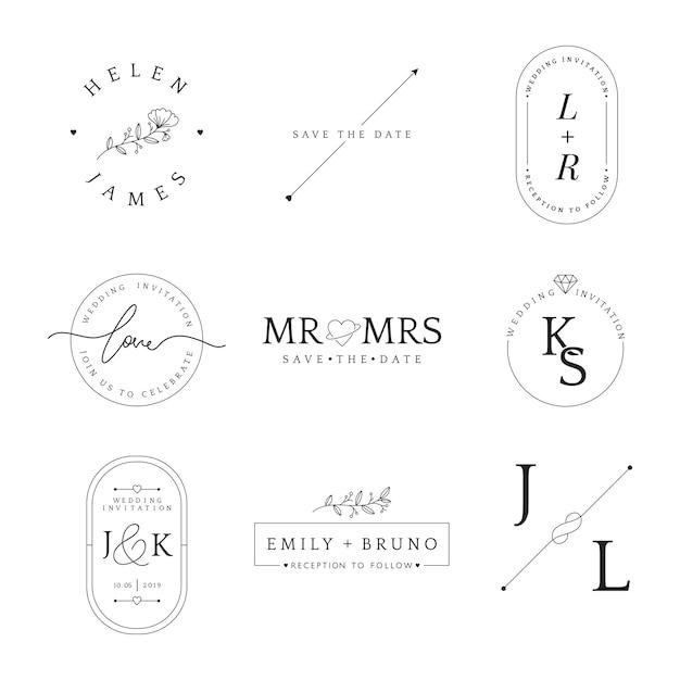 Ensemble de vecteur de conception insigne mariage invitation Vecteur gratuit