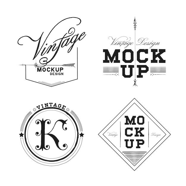 Ensemble de vecteur de conception de logo maquette vintage Vecteur gratuit