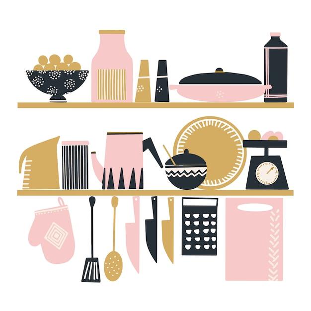 Ensemble de vecteur dessiné à la main des ustensiles de cuisine mignons Vecteur Premium