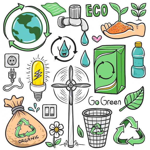 Ensemble de vecteur dessinés à la main dessin animé eco recycler des éléments isolés de doodle Vecteur Premium