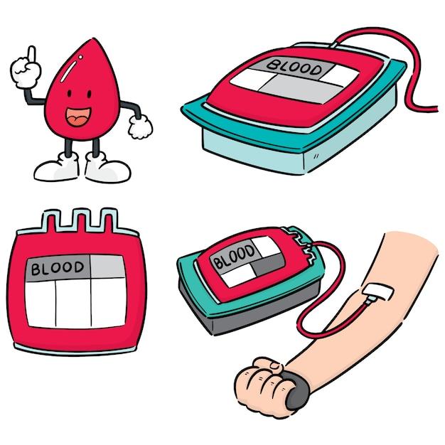 Ensemble de vecteur de don de sang Vecteur Premium