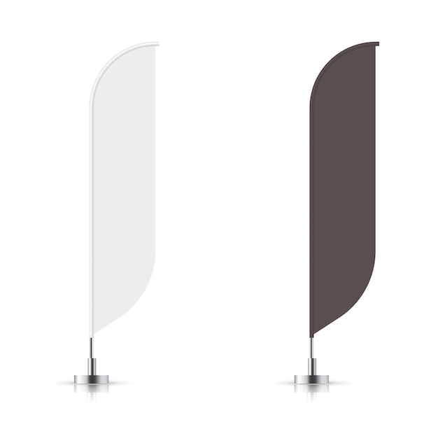 Ensemble De Vecteur De Drapeau Bannière Bannière Noir Et Blanc. Maquette De Vecteur. Vecteur Premium