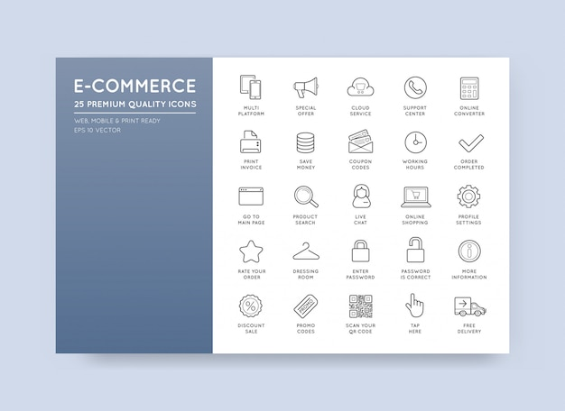 Ensemble de vecteur e-commerce icons shopping et en ligne Vecteur Premium