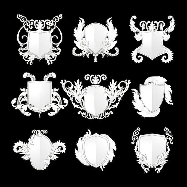 Ensemble de vecteur d'éléments de bouclier baroque blanc Vecteur gratuit