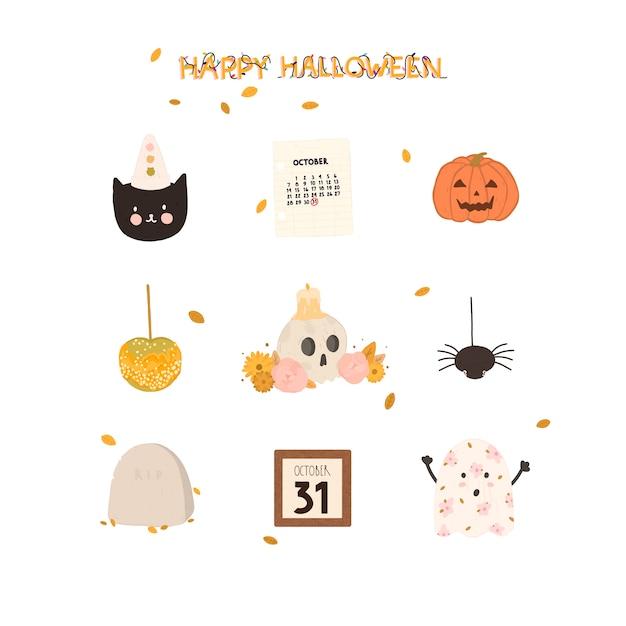 Ensemble de vecteur d'éléments de conception happy halloween dessinés à la main Vecteur Premium
