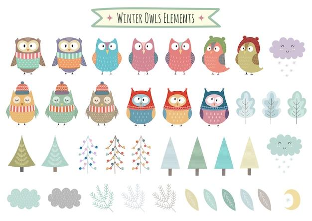 Ensemble de vecteur d'éléments hiver mignon - hiboux, arbres, brunchs, nuages et feuilles. collection de cliparts de noël Vecteur Premium