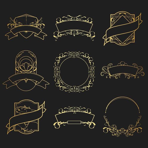 Ensemble de vecteur d'éléments vintage art nouveau doré Vecteur gratuit