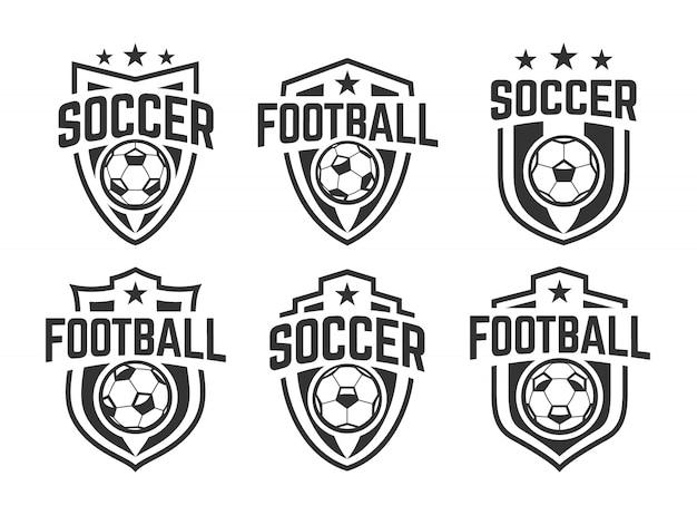 Ensemble De Vecteur D'emblèmes Classiques De Football Européen. Noir Et Blanc. Vecteur Premium