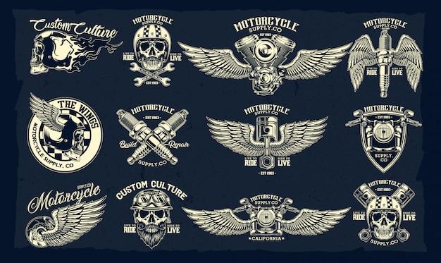 Ensemble de vecteur des emblèmes de la moto classique Vecteur Premium