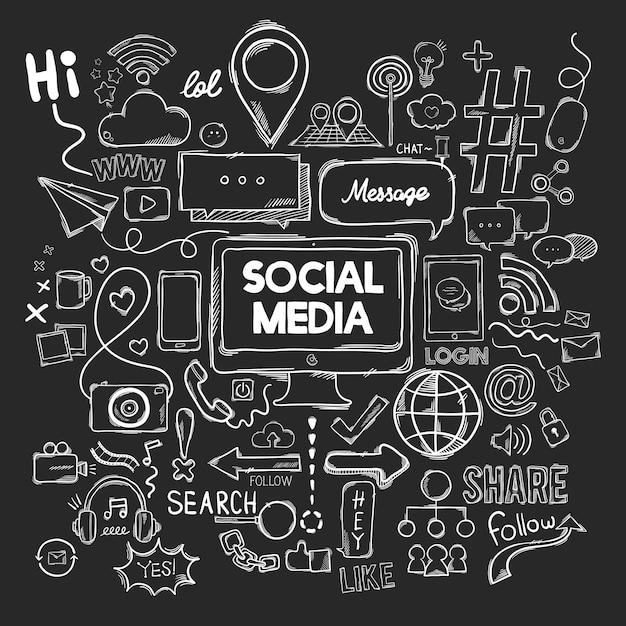 Ensemble de vecteur d'icônes de médias sociaux Vecteur gratuit