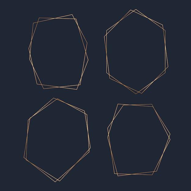 Ensemble de vecteur d'image hexagone vide doré Vecteur gratuit