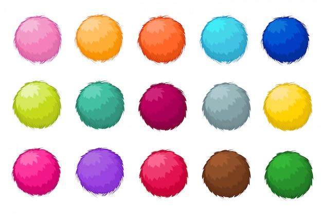 Ensemble De Vecteur Isolé Boules Fourrure Pompon Moelleux Coloré Vecteur Premium