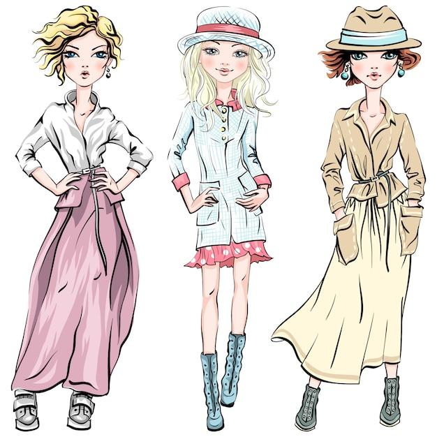 Ensemble De Vecteur De Jolies Filles à La Mode Vecteur Premium