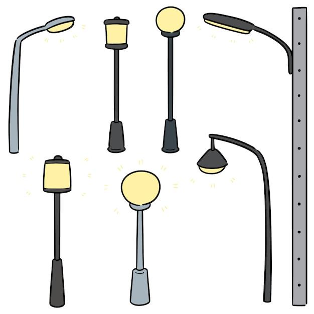Ensemble de vecteur de lampe extérieure Vecteur Premium