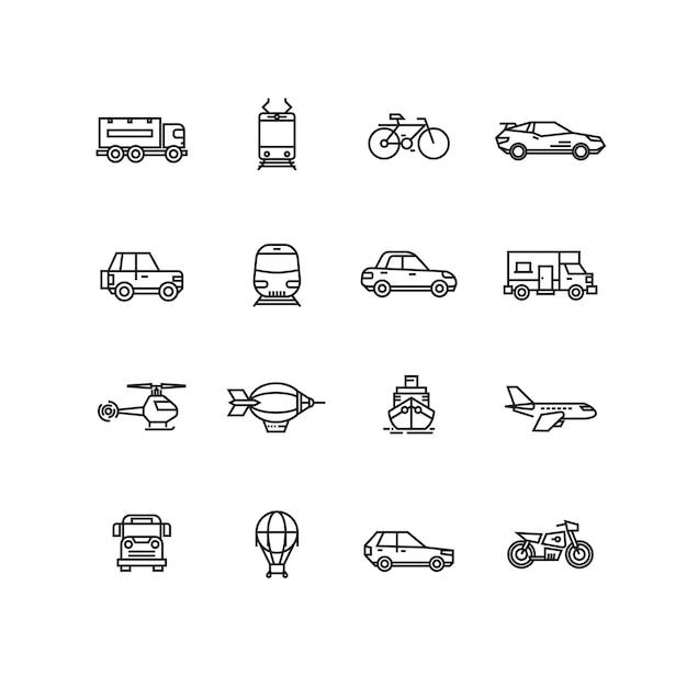 Ensemble de vecteur ligne icônes de transport Vecteur Premium