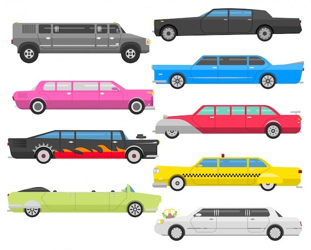 Ensemble De Vecteur De Limousine. Vecteur Premium