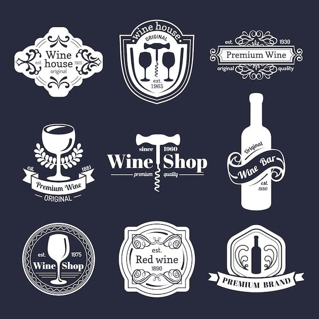 Ensemble De Vecteur De Logo De Vin Vintage. Collection D'icônes De Vin Rétro. Vecteur Premium