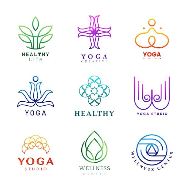Ensemble De Vecteur De Logo D'yoga Coloré Vecteur gratuit