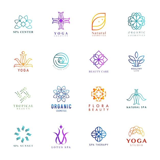 Ensemble De Vecteur De Logo Yoga Et Spa Coloré Vecteur gratuit