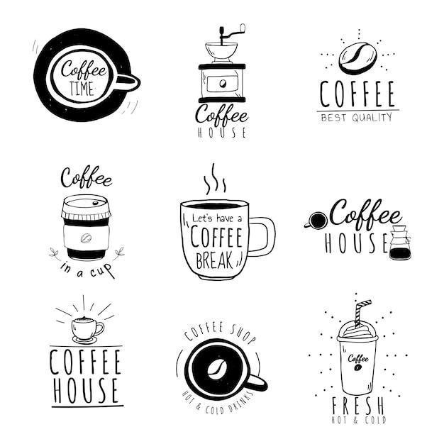 Ensemble de vecteur de logos de café Vecteur gratuit