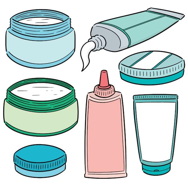Ensemble de vecteur de médicaments cosmétiques topiques et topiques Vecteur Premium