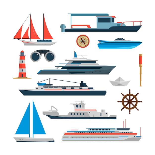 Ensemble de vecteur de mer de navires, bateaux et yacht isolé. éléments de design de transport maritime dans un style plat. concept de voyage de l'océan. Vecteur Premium
