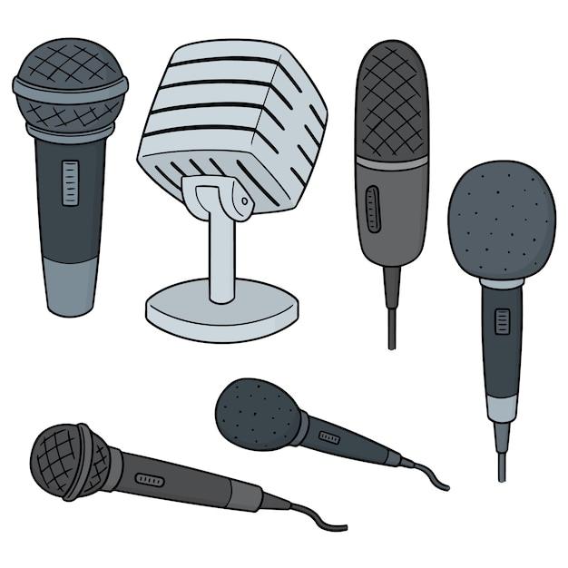 Ensemble De Vecteur De Microphone Vecteur Premium