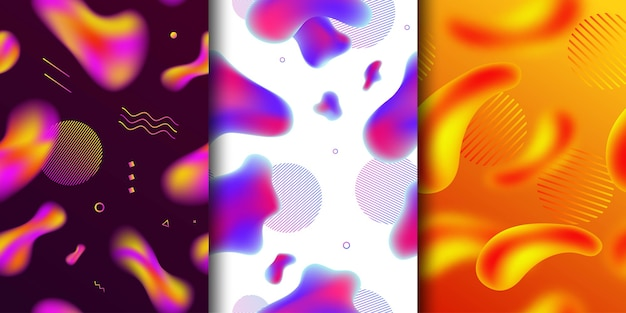 Ensemble De Vecteur De Modèle Sans Couture Isolé Réaliste De Formes Abstraites De Lampe à Lave Liquide Fluide Vecteur Premium
