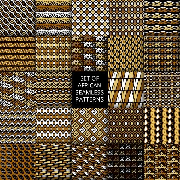 Ensemble de vecteur modèles sans couture avec l'ornement ethnique et tribale africaine Vecteur gratuit