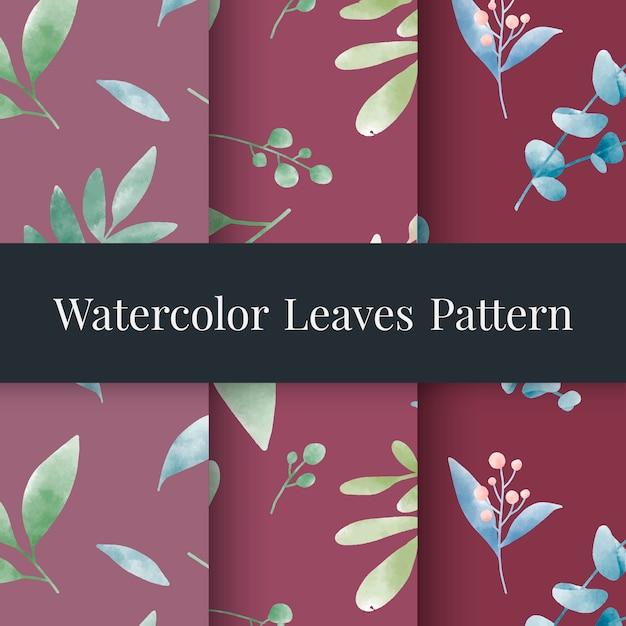 Ensemble de vecteur de motifs de feuilles aquarelle Vecteur gratuit
